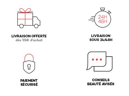 Frais de port offerts dès 55€ d'achat | Garantie 100% satisfait ou remboursé | Livraison en 24/48h | Tous nos conseils coiffure sur le blog et facebook